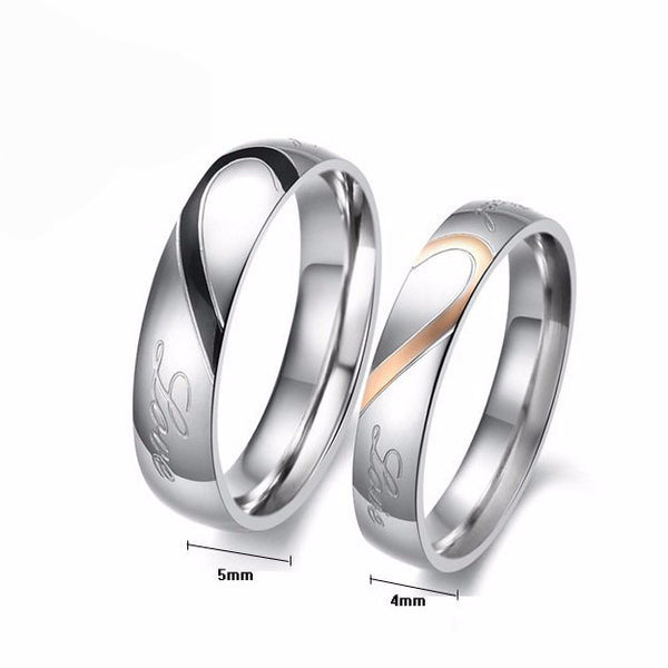 316L Stainless Steel Silver Wedding Ring - 786shop4you