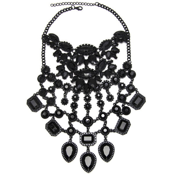 Black Oc Crystal Choker Necklace - 786shop4you