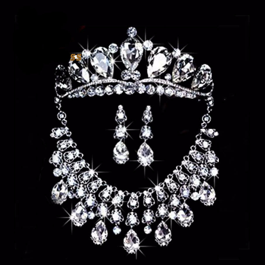 Silver Plated Crystal Tiara Necklace Earring Set DLT