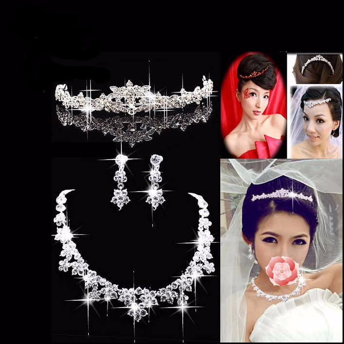 Rhinestone Crystal Silver Plated Tiara Necklace Earring Set - 786shop4you