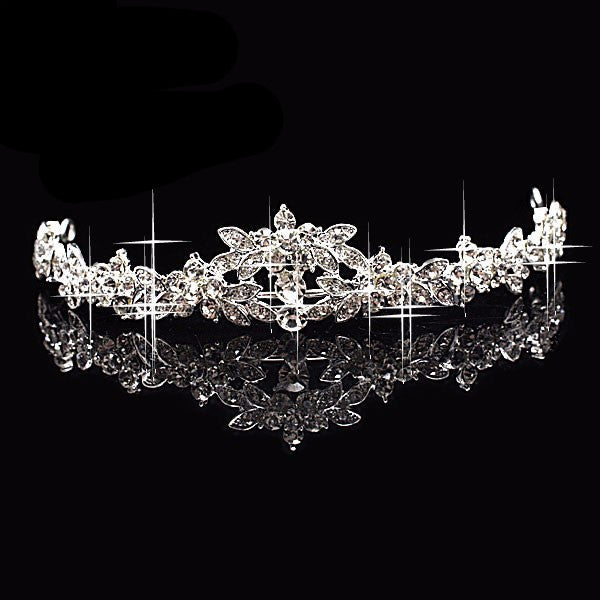 Rhinestone Crystal Silver Plated Tiara Necklace Earring Set