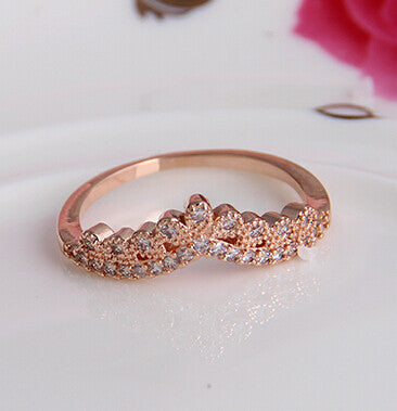 Fashion Vintage Elegant Crown 18k Rgp Good Quality plated   gold Plated Zircon Crystal Rings Wholesale B9.5d25211 ABC 403101560 - 786shop4you