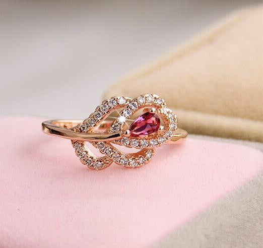 Vintage Rose Gem Crystal Ring