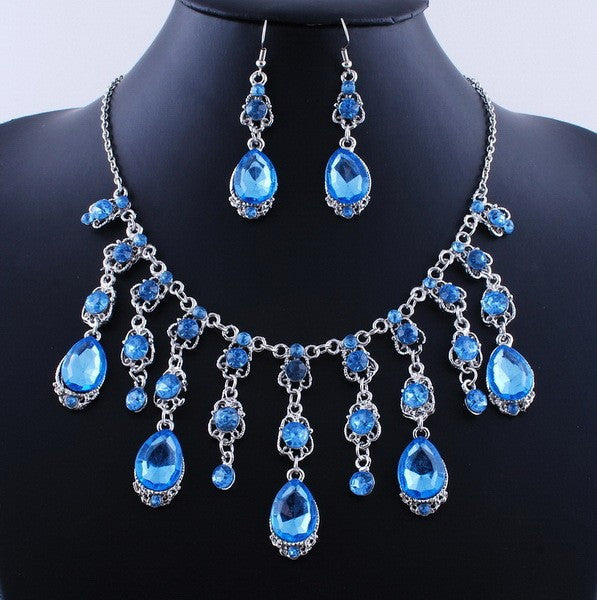 Tassel Rain Drop Necklace Set