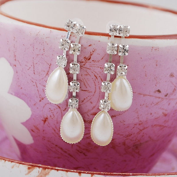 Romantic Pearl Necklace Earring Bridal Set DLT
