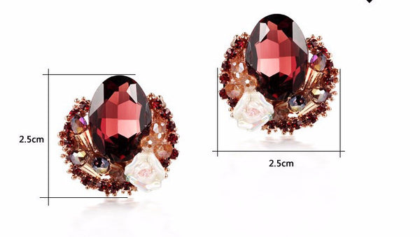 Flower Gem Crystal Earring - 786shop4you