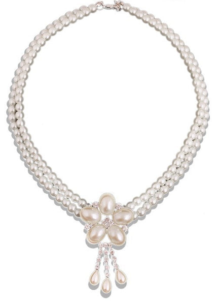 Romantic Pearl Crystal Necklace Set DLT