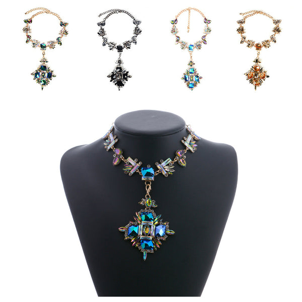 Crystal Choker Statement  Necklace  2 in One - 786shop4you