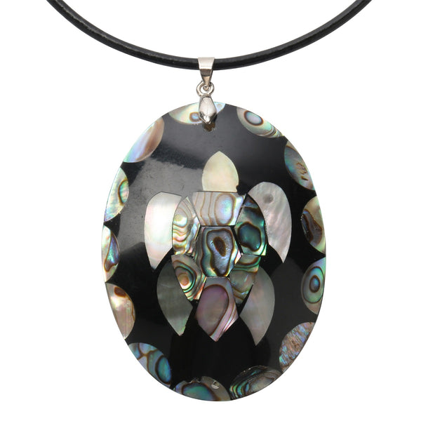 925 Sterling Silver Turtle Shell Black Leather Necklace ~ YQ - 786shop4you