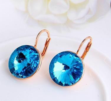 Oval Blue Gold Plated Crystal Earring