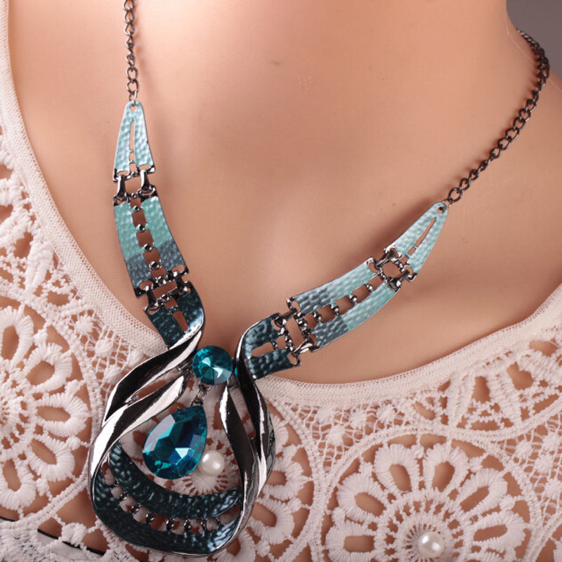 Silver Circle Dear Drop Necklace Set - 786shop4you