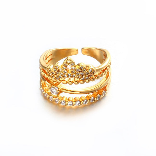 Sizzelex Multi-layers 18K Plated Gold Crown Ring