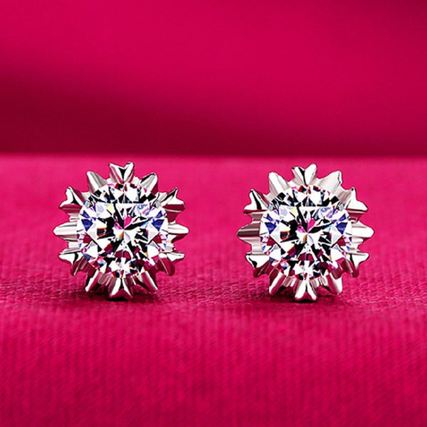 925 Sterling Silver Snowflake Earring - 786shop4you