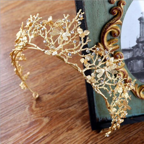 Dragonfly Gold Crystal Tiara - 786shop4you