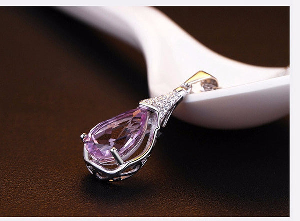 2016 Silver-Plated   Necklaces Amethyst Zircon Wish Stones Women Money Wholesale Pendants Jewelry b5//wh ABC 403101507 - 786shop4you