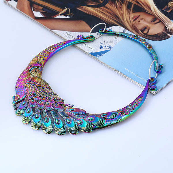 Peacock Crystal Choker Necklace