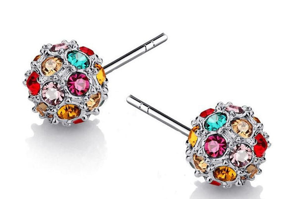 Multicolour Crystal Ball Earring