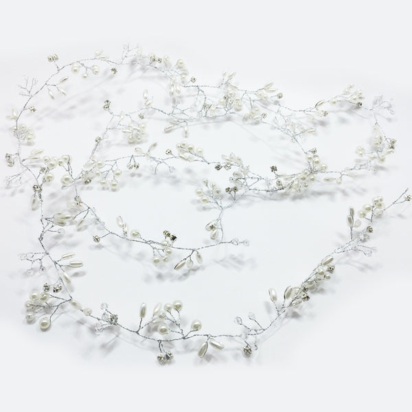 Bridal Vine Rhinestone Pearl Headpiece - 786shop4you