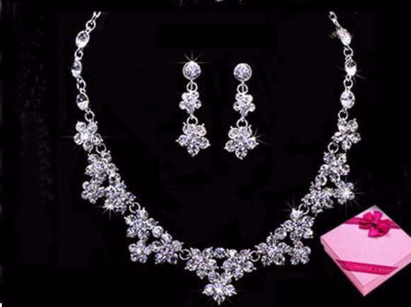 Silver Plated Crystal Necklace Earring Set