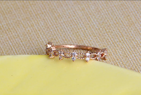 18K Gold Plated Cubic Zircon Crystal Ring - 786shop4you