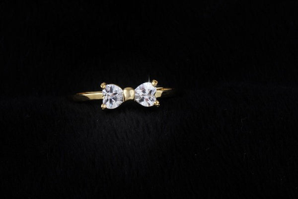 Diamond Bow Gold Plated Crystal Ring cz - 786shop4you