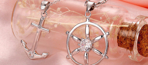 Silver Plated Anchor Wheel Pendant Necklace