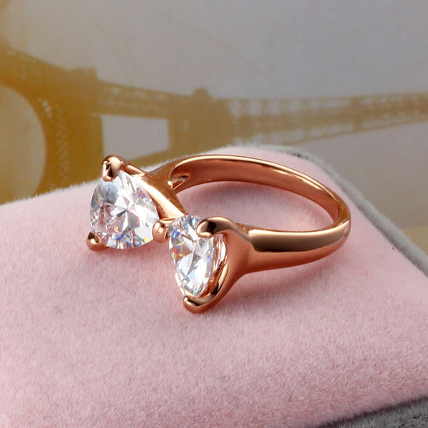 Clear White Zircon Cute Bow 18K plated gold rings for women love crystal jewelry wedding rings YY0226 ABC 403101540 - 786shop4you