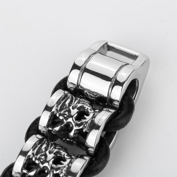 Black leather Dragon Bracelet Stainless Steel Men YQ - 786shop4you