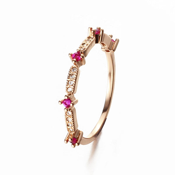 Hot pink rhinestone 18K plated gold rings for women love crystal jewelry wedding rings YY0226 ABC 403101544 - 786shop4you