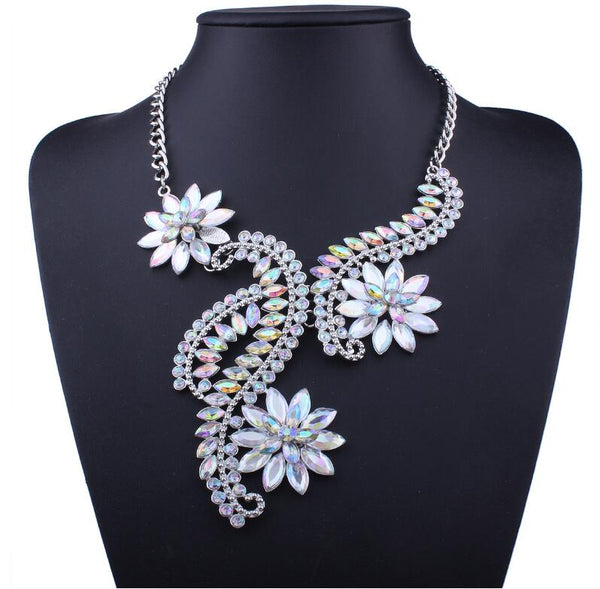 Vintage Crystal Flower Rhinestone Statement Necklace