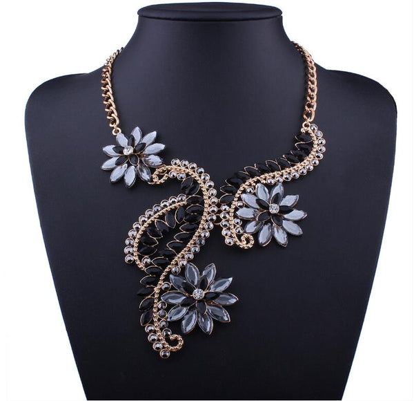 Black Grey Vintage Flower Statement Necklace - 786shop4you