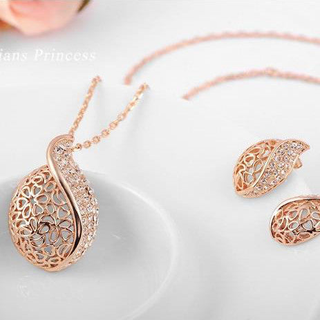 Gold Plated Leaf Earring Necklace