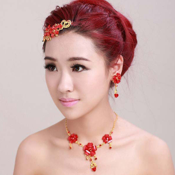 Red Tiara Necklace Earring Set