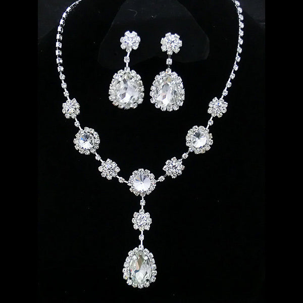 Water Drop Luxurious Silver Plated  Crystal Necklace Set DLT