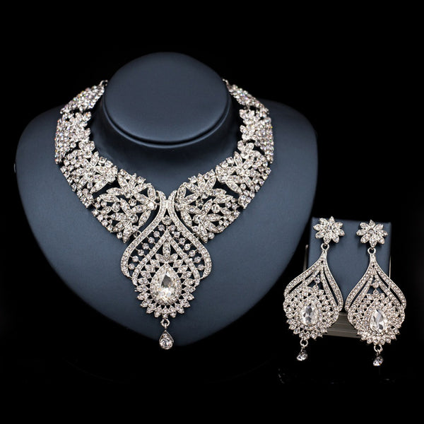 Flower Necklace Earring Set - 786shop4you