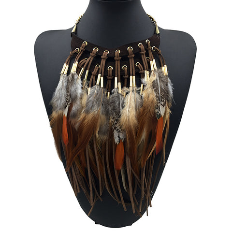 African Feather Necklace - 786shop4you