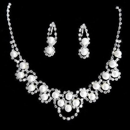 Flower Crystal Pearl Necklace Set F8 - 786shop4you