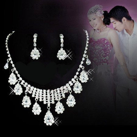 Water Drops Romantic Rhinestone Necklace Earring  Set F8 - 786shop4you