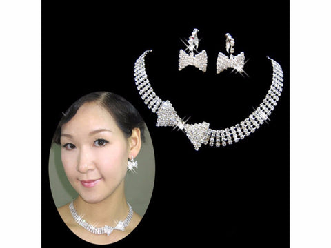 Bow Crystal Stone Necklace Set F8 - 786shop4you