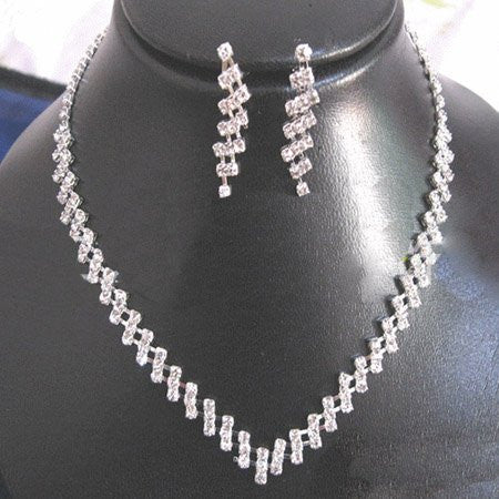 Zaz Rhinestone Necklace Earring Set - 786shop4you