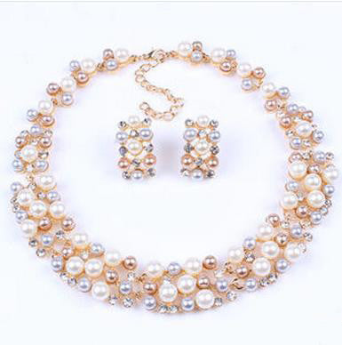 Vintage Pearls Stud Earring Necklaces Set - 786shop4you
