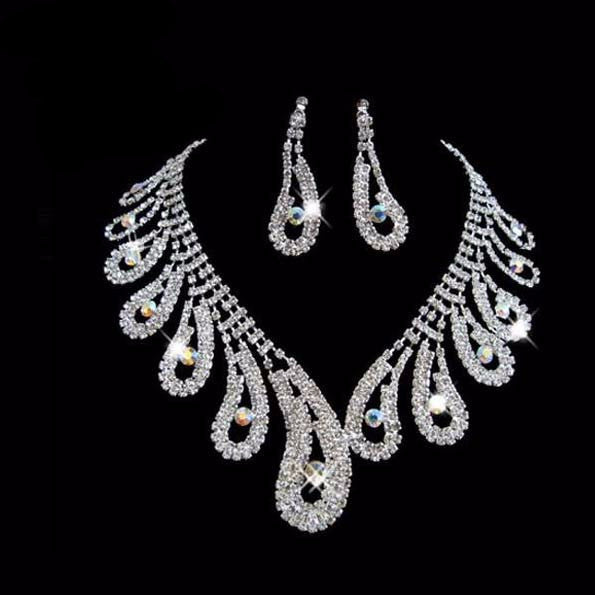 Peacock Tail Designs Crystal  Elegant Necklace Set - 786shop4you