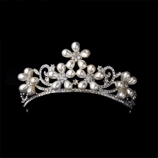 Crystal Flower Pearl Tiara - 786shop4you