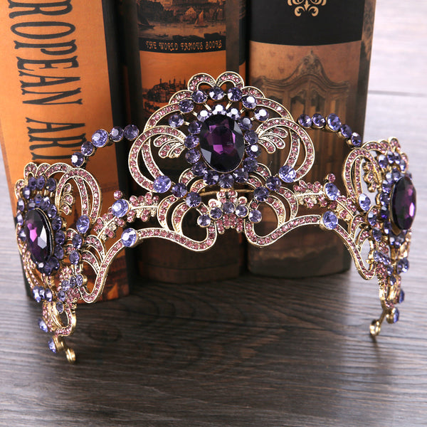 Purple flower crystal Tiara KM