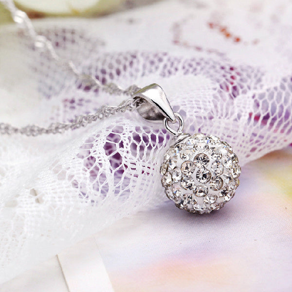 925 Silver Plated Natural Crystal Rhinestone Ball Necklace - 786shop4you