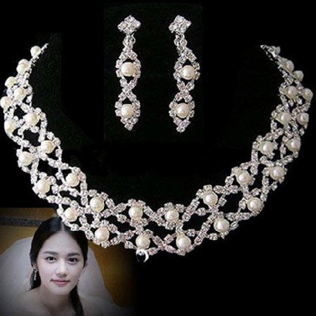 Crystal  Pearl Necklaces Set F8 - 786shop4you