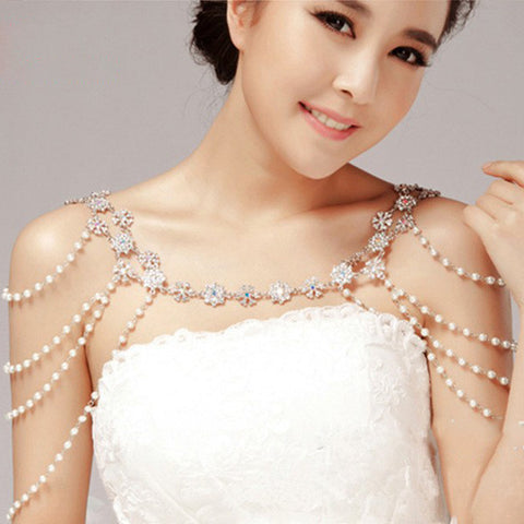 BB Rhinestone Pearl Crystal Bridal Shoulder Chain - 786shop4you