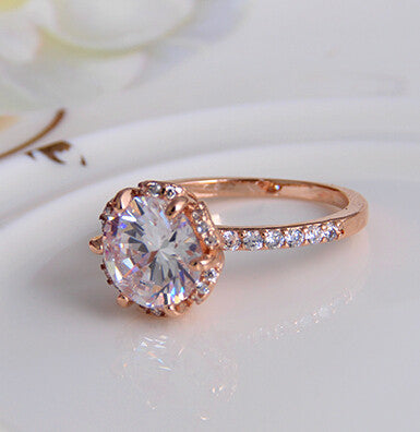 Gem 18k Gold Plated Zircon Crystal Ring