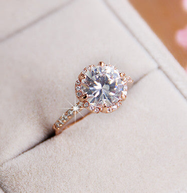 Shining Big Gems 18k RGP Good Quality Fashion Gold Plated Zircon Crystal Rings For Women Wholesale Wedding Gifts - 786shop4you