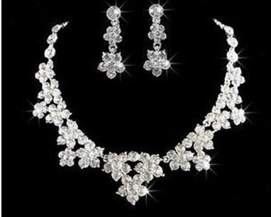 Silver Plated Crystal Necklace Earring Set F8 - 786shop4you